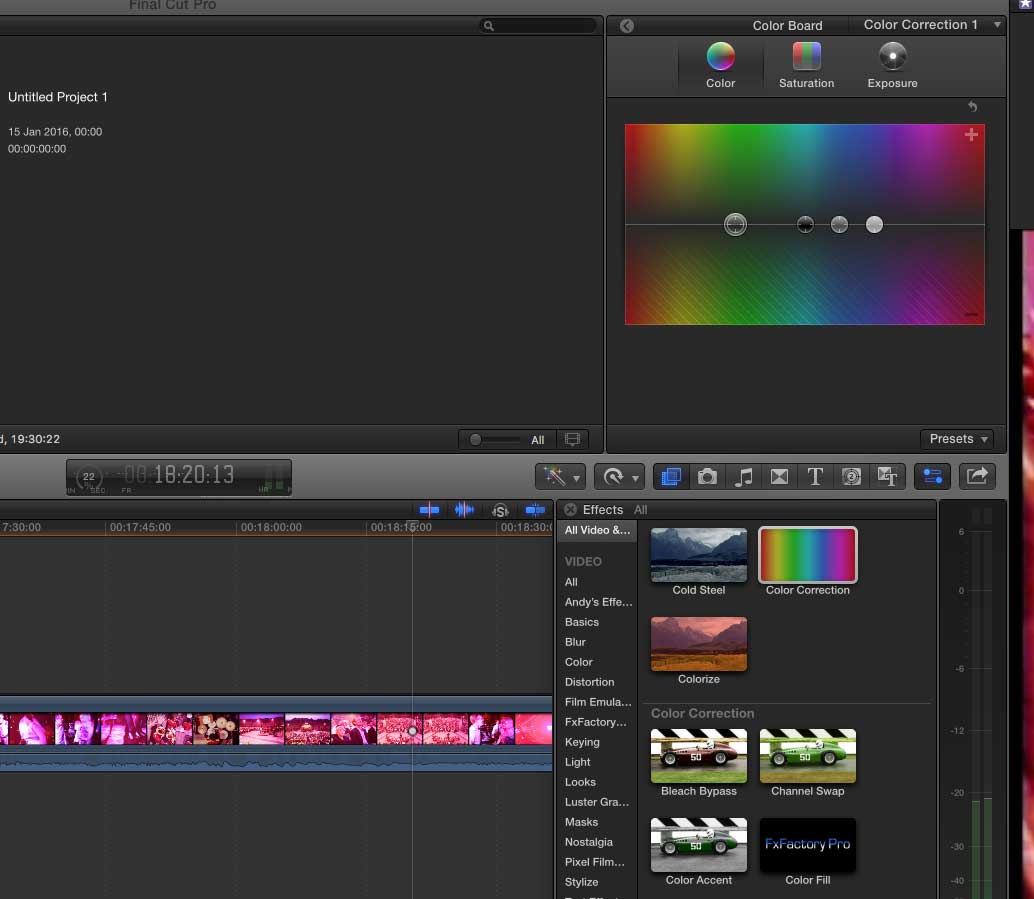 Colour correcting cine film